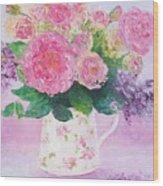 Roses In A Pink Floral Jug Wood Print