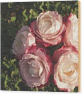 Roses In A Vase,on The Grass Wood Print