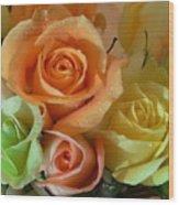 Roses In Pastel Wood Print