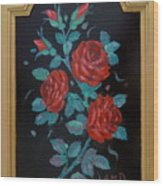 Roses In The Classic Style Wood Print