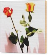 Roses In The Light Wood Print