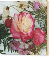 Roses In The Snow Wood Print