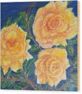 Roses In Yellow Wood Print