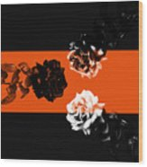 Roses Interact With Orange Wood Print