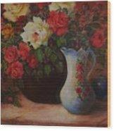 Roses N'blue Wood Print