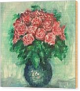 Roses Oil Painting  Wood Print