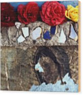 Roses On A Shrine Wood Print