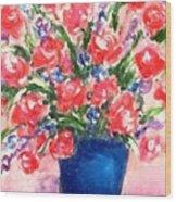 Roses On Blue Vase Wood Print