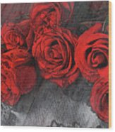 Roses On Lace Wood Print