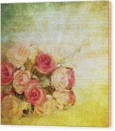 Roses Pattern Retro Design Wood Print