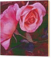 Roses Silked Pink Vegged Out Wood Print