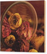 Roses Spilling Out Of Vase Wood Print
