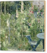 Roses Tremieres Wood Print by Berthe Morisot