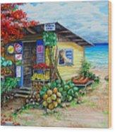 Rosies Beach Cafe Wood Print