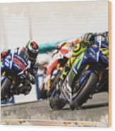 Rossi Leading The Pack Wood Print