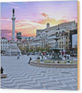 Rossio Square In Lisbon Portugal At Sunset Wood Print