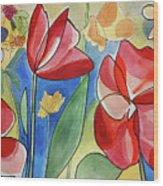 Rosso Fiori Wood Print