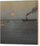 Rosy Moon Off Charleston Harbor Wood Print