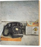 Rotary Dial Phone In Black S And H Stamps Wood Print