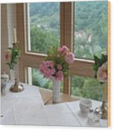 Rothenburg Dining With A View Wood Print
