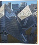 Rotterdam - The Cube Houses And Skyline Wood Print