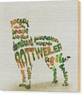 Rottweiler Dog Watercolor Painting / Typographic Art Wood Print