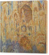 Rouen Cathedral, Facade, Sunset Wood Print