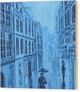 Rouen In The Rain Wood Print