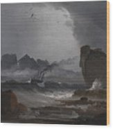 Rough Sea With A Steamer Near The Coast Of Norway Wood Print