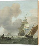 Rough Sea With Ships Wood Print