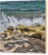 Rough Seas At Blowing Rock Wood Print