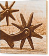 Rough Spurs - Sepia Wood Print