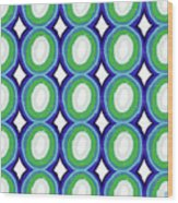 Round And Round Blue And Green- Art By Linda Woods Wood Print