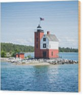 Round Island Lighthouse Wood Print