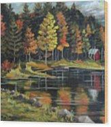 Round Pond Newbury Vermont Plein Air Wood Print