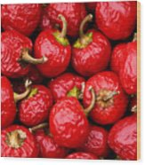 Round Red Peppers Wood Print