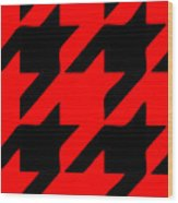 Rounded Houndstooth Black Pattern 02-p0123 Wood Print