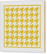 Rounded Houndstooth With Border In Mustard Wood Print