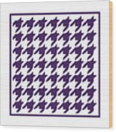 Rounded Houndstooth With Border In Purple Wood Print