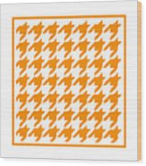 Rounded Houndstooth With Border In Tangerine Wood Print