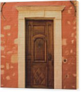 Roussillon Red And Door Wood Print