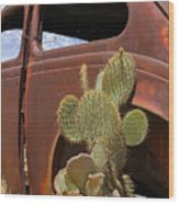 Route 66 Cactus Wood Print by Mike McGlothlen