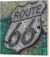 Route 66 Digital Stained Glass Wood Print