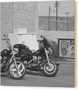 Route 66 Motorcycles Bw Wood Print