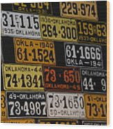 Route 66 Oklahoma Car Tags Wood Print