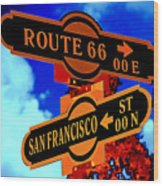 Route 66 Street Sign Stylized Colors Wood Print
