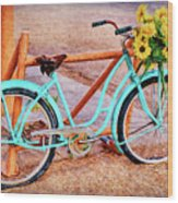 Route 66 Vintage Bicycle Wood Print