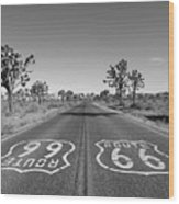 Route 66 With Joshua Trees In Black And White Wood Print