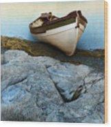 Row Boat On Shore Wood Print