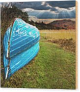 Row Boats In Waiting Wood Print by Meirion Matthias